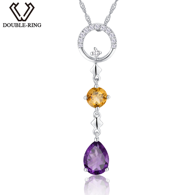 Aliexpress buy double r 075ct natural stone amethyst double r 075ct natural stone amethyst pendants girl 925 silver water drop pendants necklaces mozeypictures Gallery