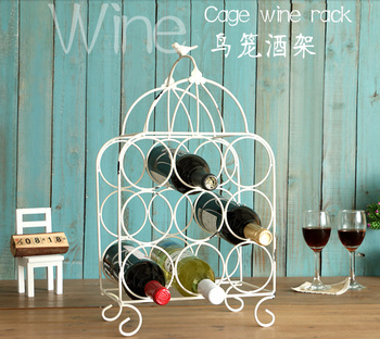 Bird Cage Wine Rack Bar Home Kitchen Dining Decor Display Stand