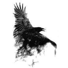 Black Raven – tatouages temporaires imperméables pour hommes, Harajuku, henné, beauté animale, corps, manches