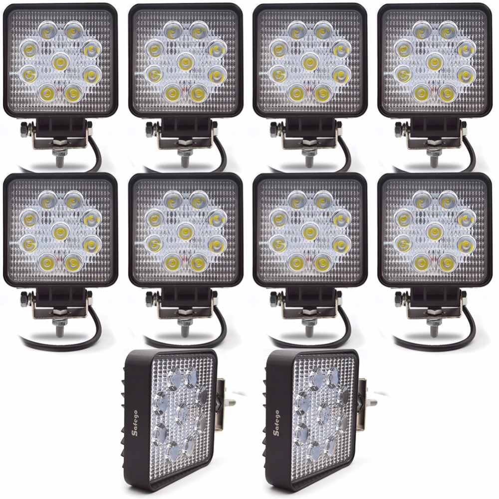 10PCS ماشین 27W رهبری نور کار 12V چراغ - چراغ های اتومبیل