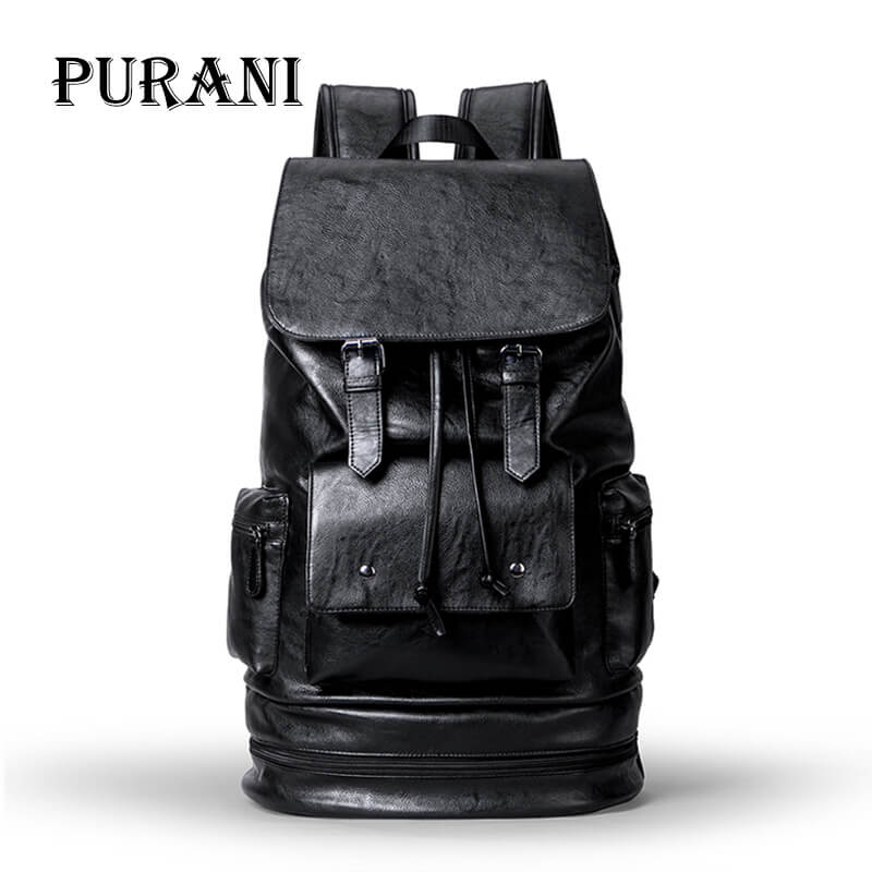PURANI NEW Man Leather Backpack Bag Black Backpack Men Travel Backpacks USB Cable Large Capacity Waterproof Rucksack Laptop Bag цена