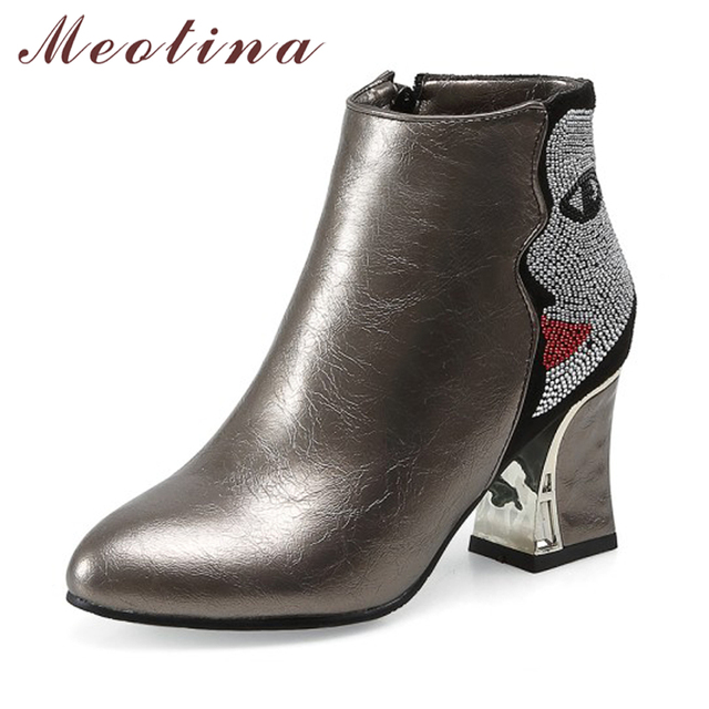 05a44a80ecad Meotina Women Ankle Boots Winter High Heels Short Boots Zipper Thick Heel  Boots 2018 Spring Ladies Short Shoes Beige Big Size 46