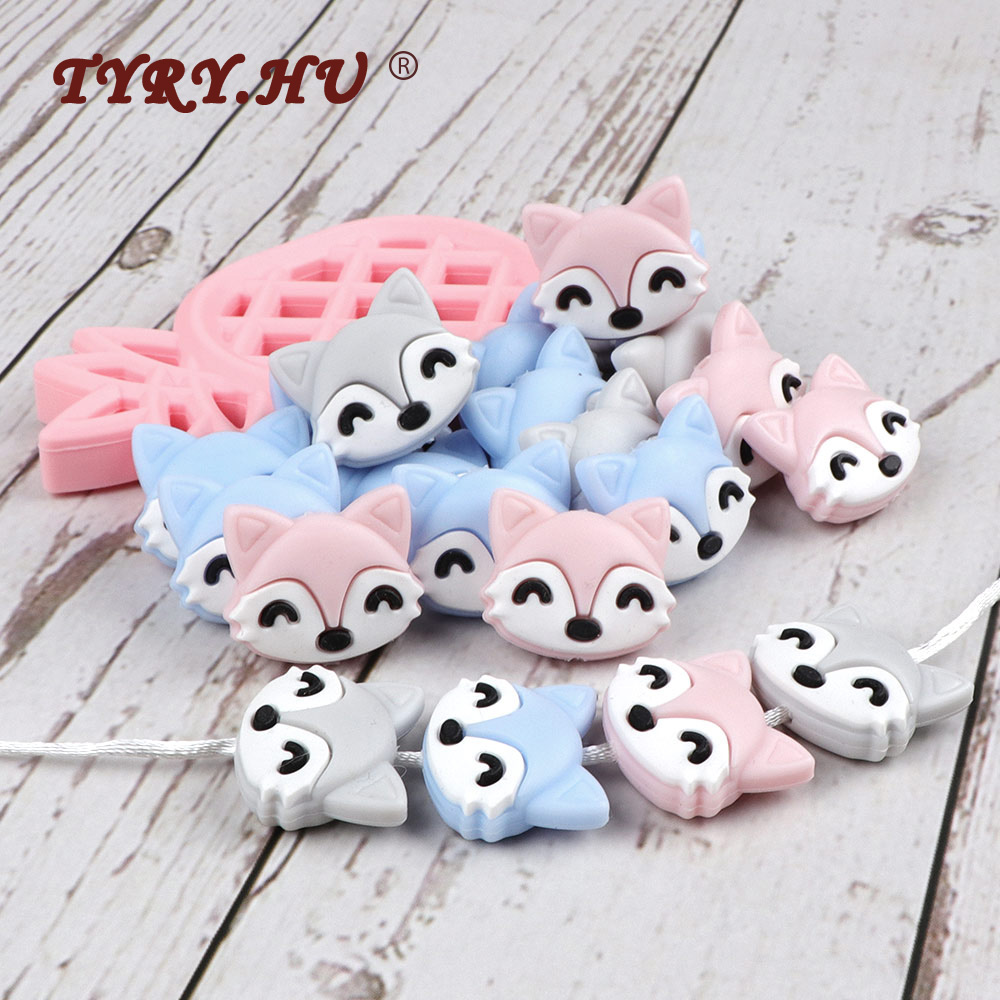 TYRY.HU 50pc Free Shipping Silicone Beads Food Grade Cute Fox Rodents Baby Teether Teething Toy DIY Pacifier Clip Accessories