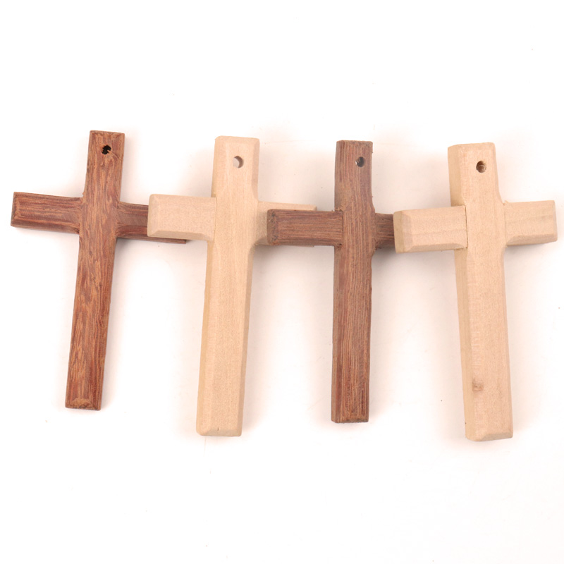 Home Decoration Handmade Accessory Scrapbooks Craft DIY Natural Wooden Christian Cross Pattern Ornamentation 80x50mm 1pcs MZ308