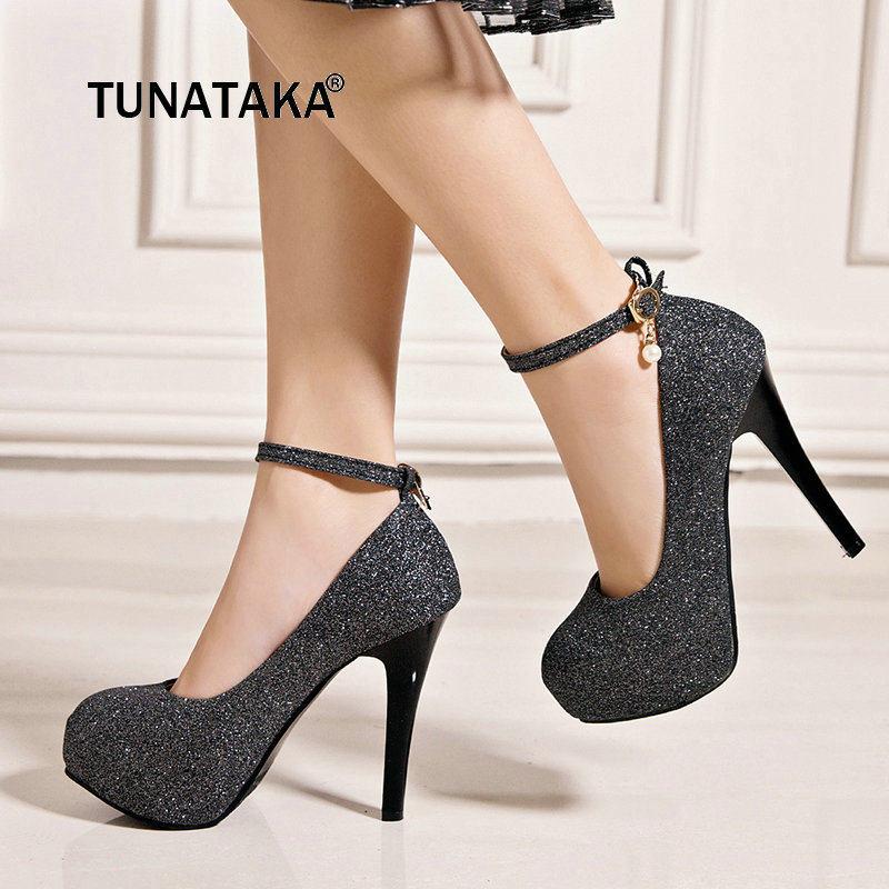 Bling Thin High Heel Buckle Woman Pumps Fashion Platform Party High Heel  Shoes Ladies Black Gold a7e16340e88e