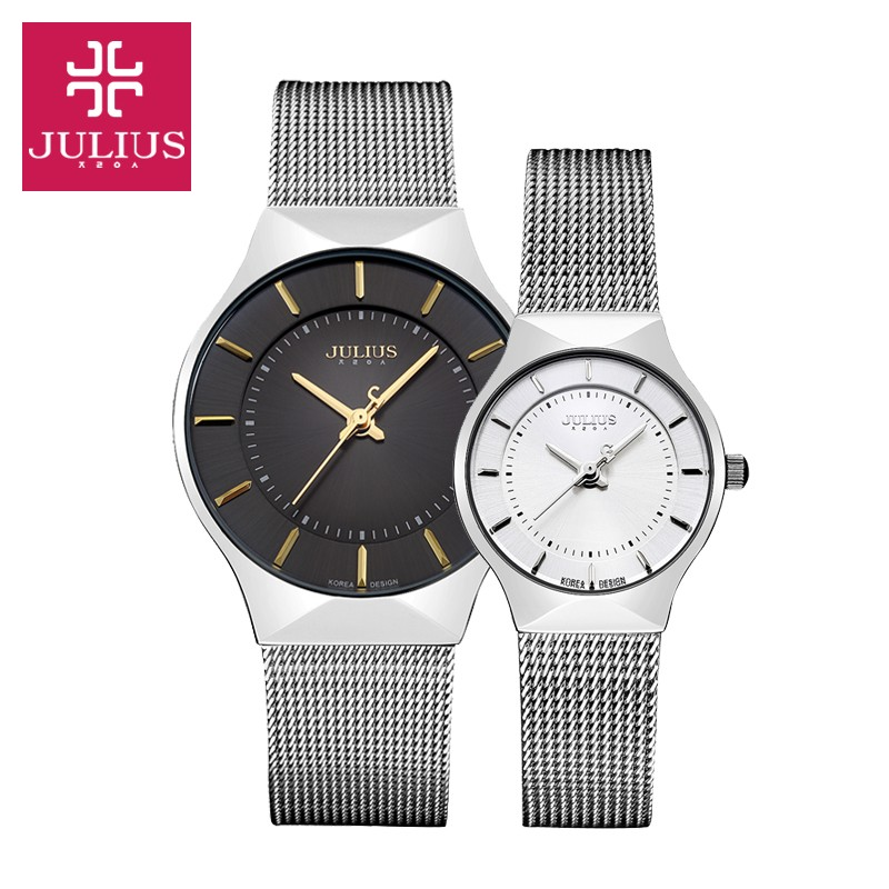 Ultra Thin Men's Watch Women's Watch Julius Miyota Quartz Couple Hours Fine Business Classic Stainless Steel Lover's Gift Box