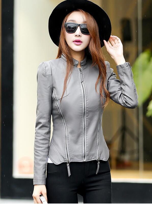 2018 New Autumn Leather Jacket Women Black Color Mandarin Collar Zippers Short Female Faux Leather Jackets 2