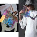 Designer Rainbow Hologram Clear Transparent Handbag Clutch Purse with chain