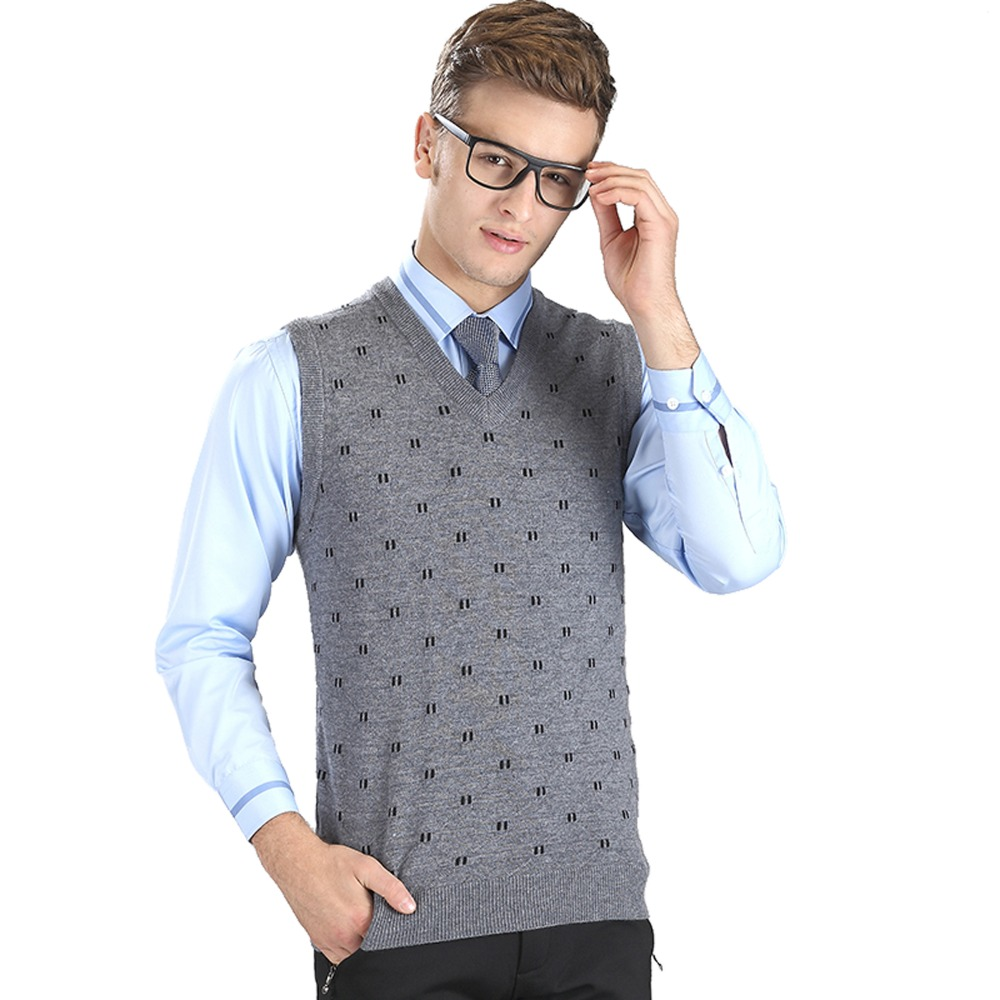 1515583ea New Mens Winter Warm Knitted Sweater Vest Wool Waistcoat Cashmere Jumpers  Pullover V Neck Sleeveless Tank Tops Men Jersey Hombre-in Pullovers from  Men s ...