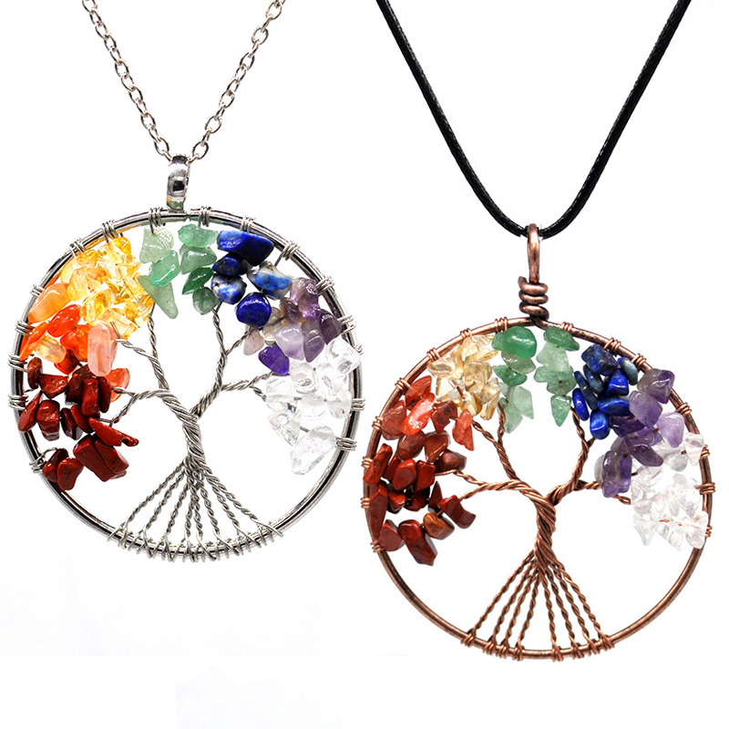 7 Chakra Stones Crystal Necklaces Pendants Natural Stone Tree Of Life Pendulum Pendant Necklace For Women Healing Reiki Jewelry