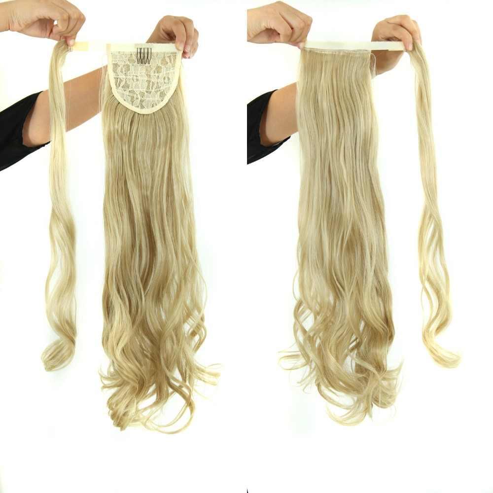 Lujo para trenzar el pelo sintético 22 pulgadas 120g largo ondulado de alta temperatura fibra cordón envolver alrededor de la cola de caballo