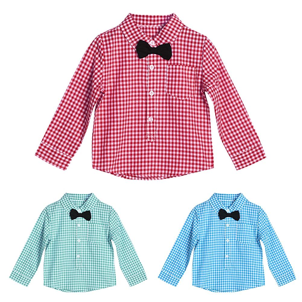 0-24 Monate Baby Jungen Langarm T-shirt Herren Stil Tops Fashion Frühling Herbst Baby Kinder Fliege Plaid T-shirt Tops
