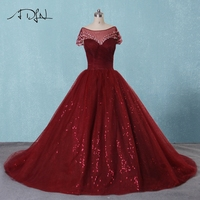 ADLN Burgundy Sequin Tulle Wedding Dresses Scoop Neck Short Sleeves Ball Gowsn Bridal Gowns Court Train