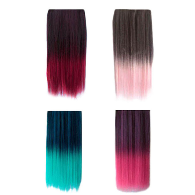 Ombre Dip Dye Wig Color Clip In Hair Extension Length Straight For