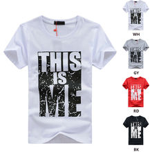 Mens Casual Slim Fashion THIS IS ME Quote Letter Printed T-shirts Summer Tops Funny Clothing Short Sleeve Tshirts