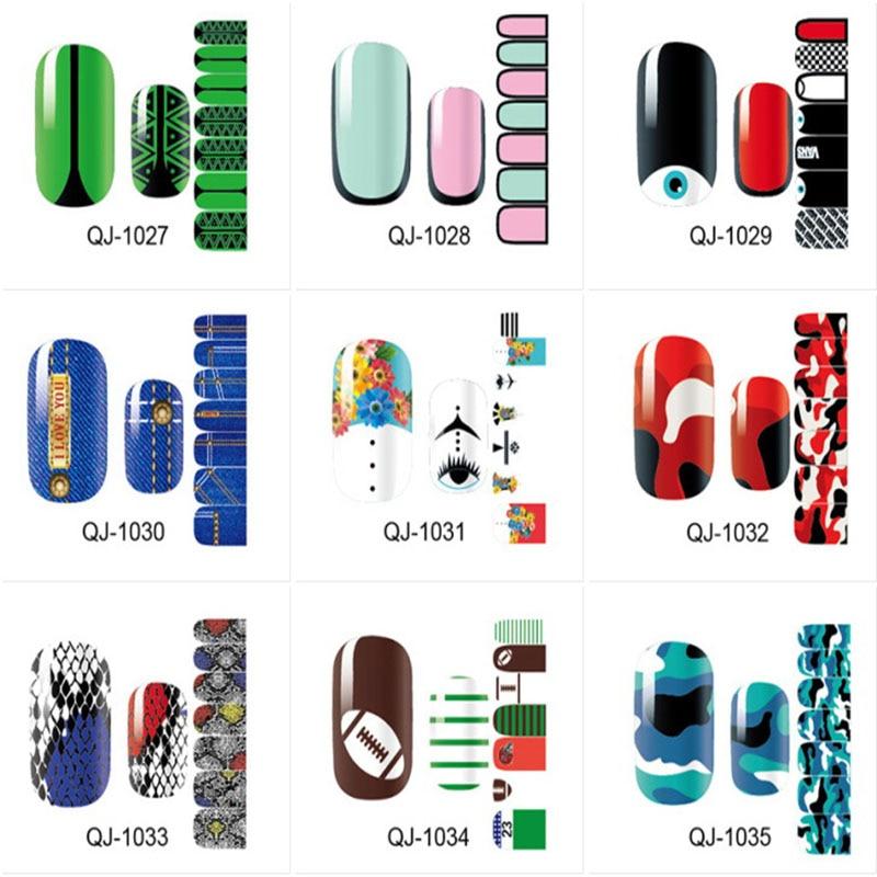 14 Tips/Pc Strange Colorful Series Full Waterproof Stickr Green Nail Polish Sticker Decal Sticker Manicure QJ1027-1041