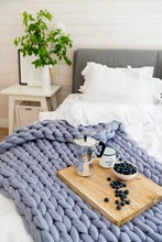 Handmade Chunky Knitted Blanket Warm Knit Yarn Merino Wool Bulky Home Decor Throws Blankets Drop Shipping