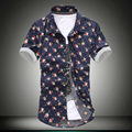 2017 New Men Social Printed Flower Shirt Fashion Summer Beach Male Flower Slim Fit Casual  Short Sleeve Shirt Brand Camisa