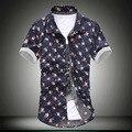 2017 Nuevos Hombres Social Flor Impresa Camisa de la Playa de Moda de Verano Flor Masculina Slim Fit Casual Camiseta de Manga Corta Marca Camisa