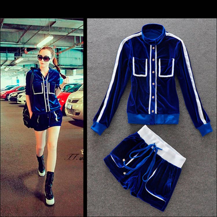 New Style Women Casual Velvet Tracksuits Blue Velour 2pc Clothing Set Lady Long Hoody Shorts Fashion Sports Suit Sweatsuit S Xl Suit Pink Tracksuit Pricestracksuit Patterns Aliexpress