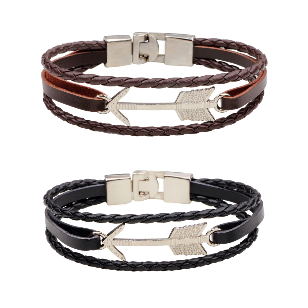 European Punk Style Genuine Leather Braided Bracelet Vintage Religious Arrow Charm Bracelets Wristband Men Wrap Bracelet Jewelry