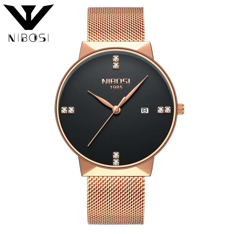Nibosi 2323 Luxury Diamonds Alloy Mesh Band Unisex Quartz Wristwatches (Rose Gold Band-Black) - intl