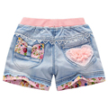 2017 NEW Thin Summer Girls Shorts Jeans Shorts 4 6 7 8 9 11 12 14 Years Old Children's Pants Bear Floral Diamond Lace Cat Ruffle