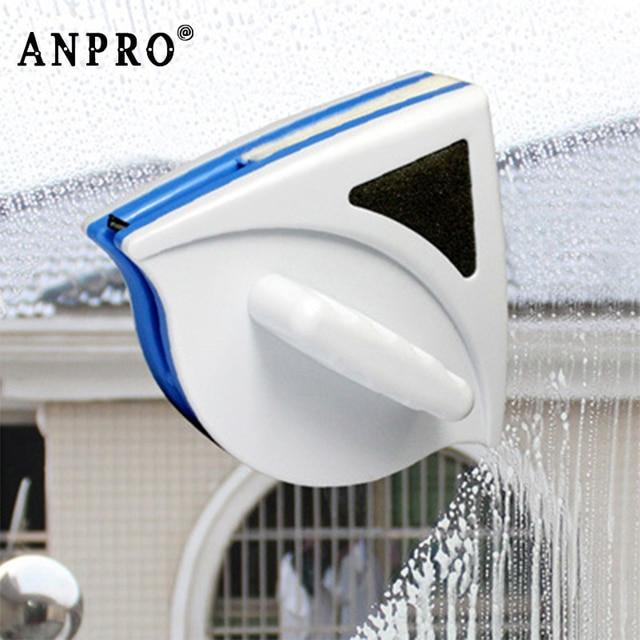 Anpro المنزل نافذة ممسحة الزجاج فرشاة تنظيف أداة مزدوجة الجانب المغناطيسي فرشاة لغسل النوافذ الزجاج فرشاة تنظيف أداة