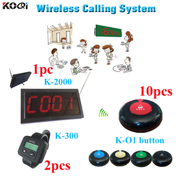 Waiter Call System with One Display Panel 2 Watches and 10 Buttons
