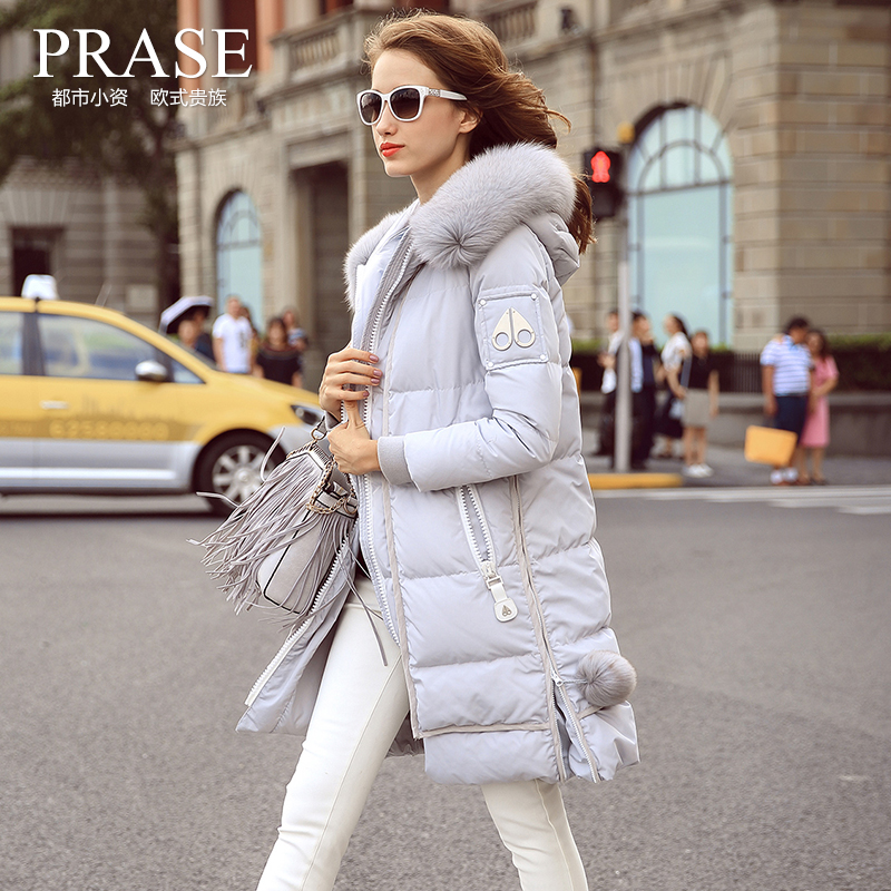 Womens Europe Station 2016 Winter New Fashion Fur Collar Jacket Female Thickened Knee Wear Ladies Fleece Coats With