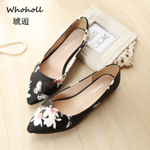 Spring Flats Women Shoes Flower Print Loafers Patent Leather Elegant Low Heels Slip on Footwear Female Pointed Toe Thick Heel 43 2018 spring low heel casual shoes patent leather loafers british style fashion slip on shoes 3cm
