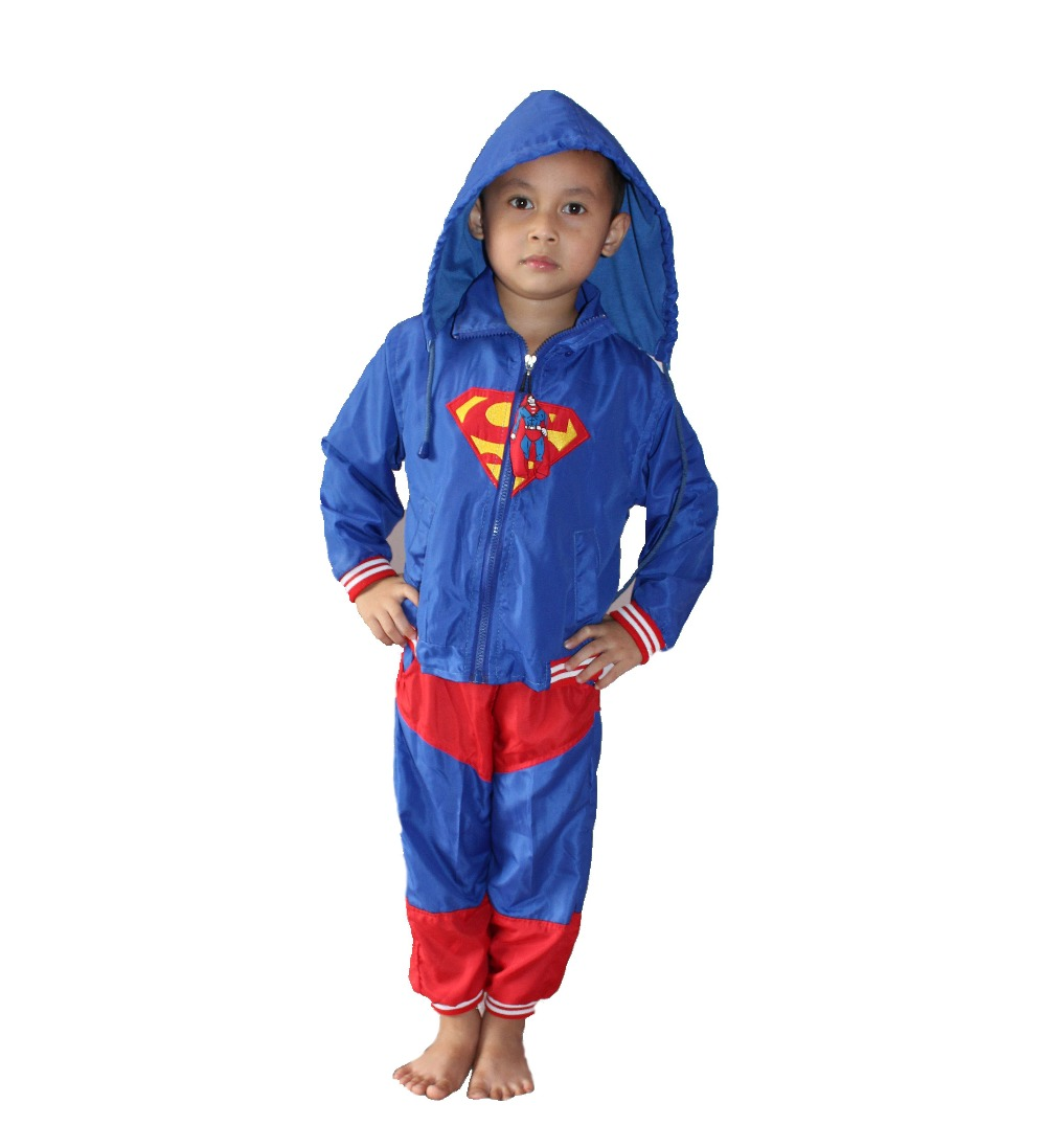 retail & wholesale boy's 2 suit Outerwear,kid dust coat,boy Coats,baby  superman Role play Rainwear,Free shipping