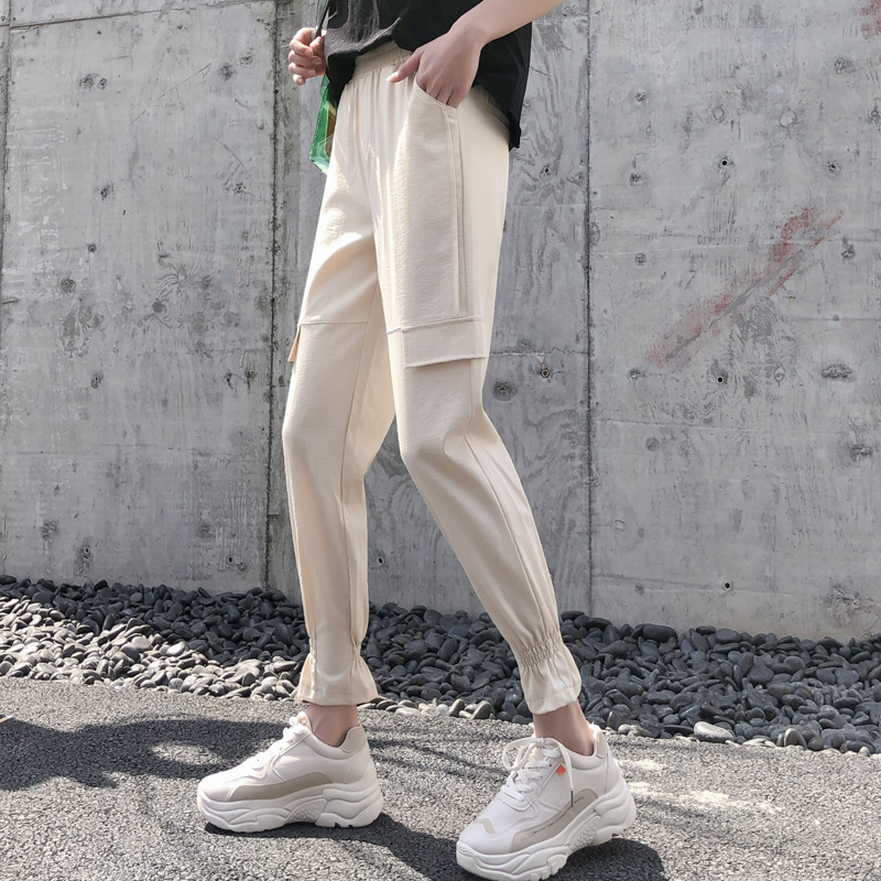 Jogger Women Cargo   Pants   Military Khaki Casual Hip Hop   Pants     Capri   Leggings Female Loose Trouser Cotton Harem   Pants   High Waist