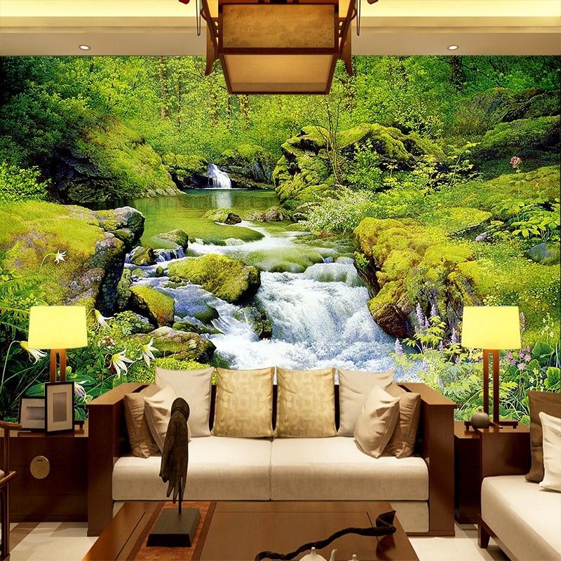 living wall modern mural background 3d landscape tv paper waterfall custom wallpapers