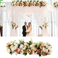Frigg 1M Artificial Rose Flower Row Wedding Decor Flower Wall Road Cited Arched Door Shop Silk Flower Row Wedding Supplies