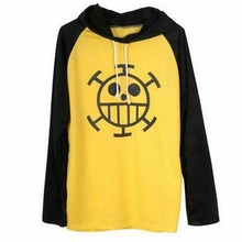 One Piece Trafalgar Law Yellow T-Shirt Anime Cosplay costume long sleeve hoodie hooded Tshirt