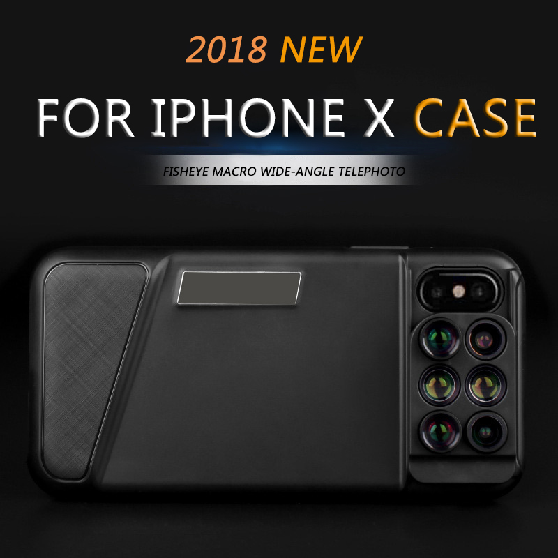2018 nouveau double étui d'objectif de caméra 6 en 1 pour iPhone X Fisheye grand Angle Macro objectif coque de téléphone télescope objectif Zoom avec boîte-cadeau