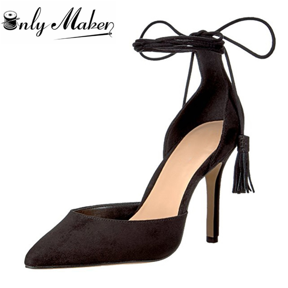 ФОТО Onlymaker Womens Lace-up Low-cut Stiletto Heel Sandals Shoes High Heel Slip On Pumps Pointed Toe Shoes For Ladies  Big Size 15