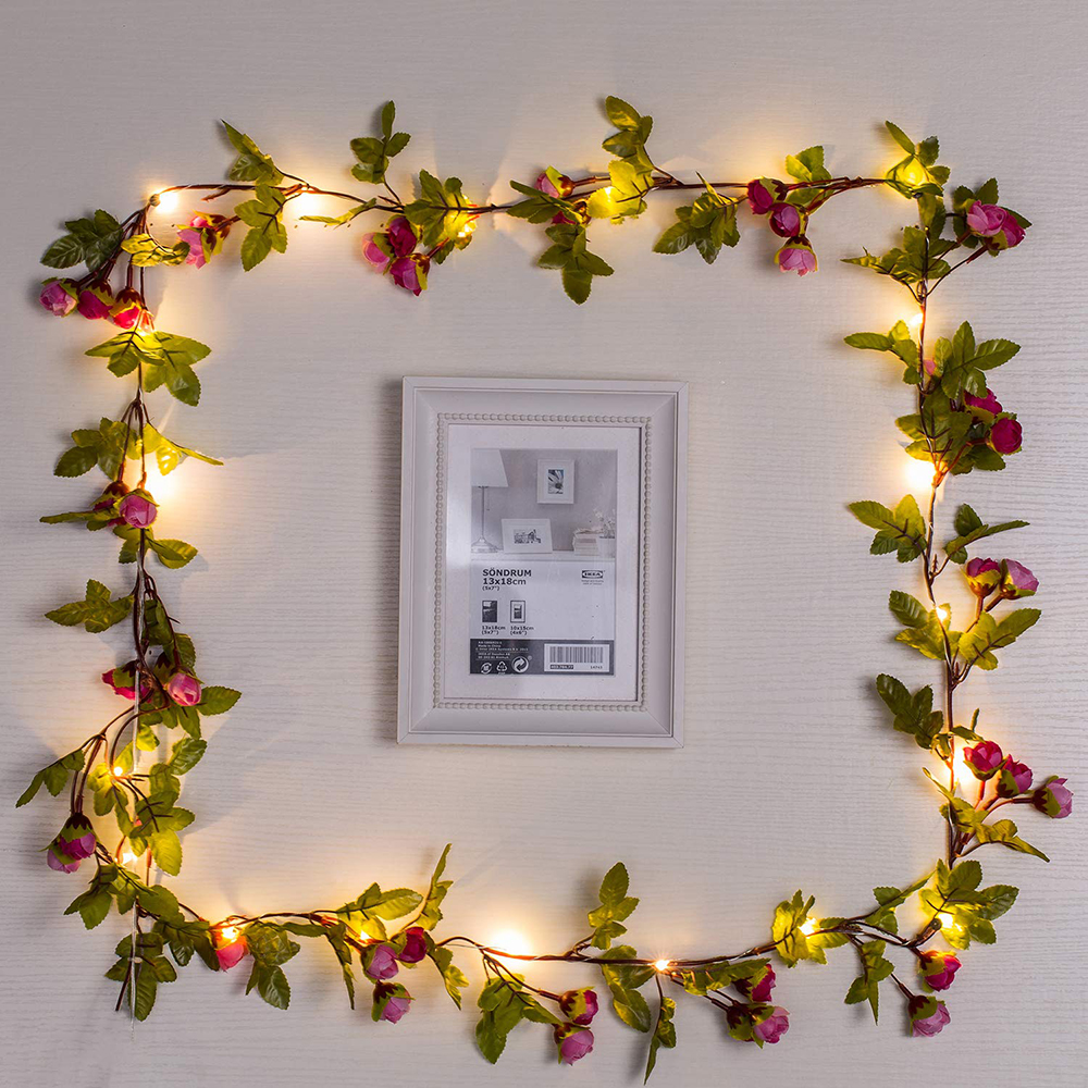 2M/5M/10M Artificial Rose Flowers Leaves Vine String Lights Battery Powered Hanging Copper Wire Garland For Christmas Wedding