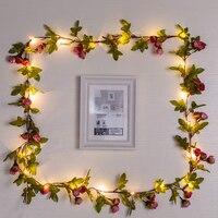 Guirnalda con alambre de cobre para Navidad y boda, guirnalda de flores de Rosa artificiales, hojas de vid, luces alimentadas por batería, 2M/5M/10M