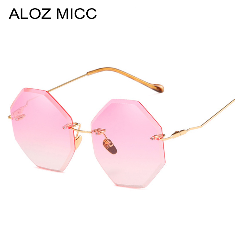 ALOZ MICC 2018 Mode Sans Monture lunettes de Soleil Femmes Marque Designer Carré Océan Rose Gris Jaune Gradient Femmes Lunettes de Soleil Q552