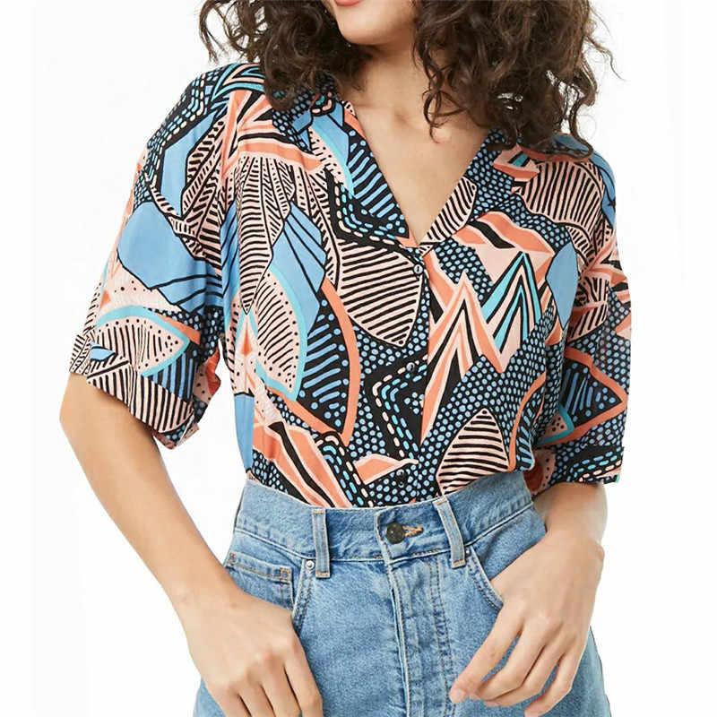 Blusas de mujer 2019 moda de verano de manga corta Blusa de gasa cuello vuelto camisa de Oficina de las señoras Blusas sueltas de talla grande