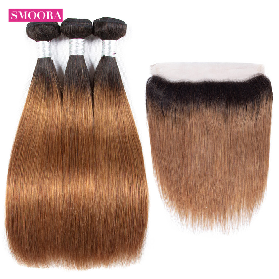 ombre straight dark brown bundle hair with frontal
