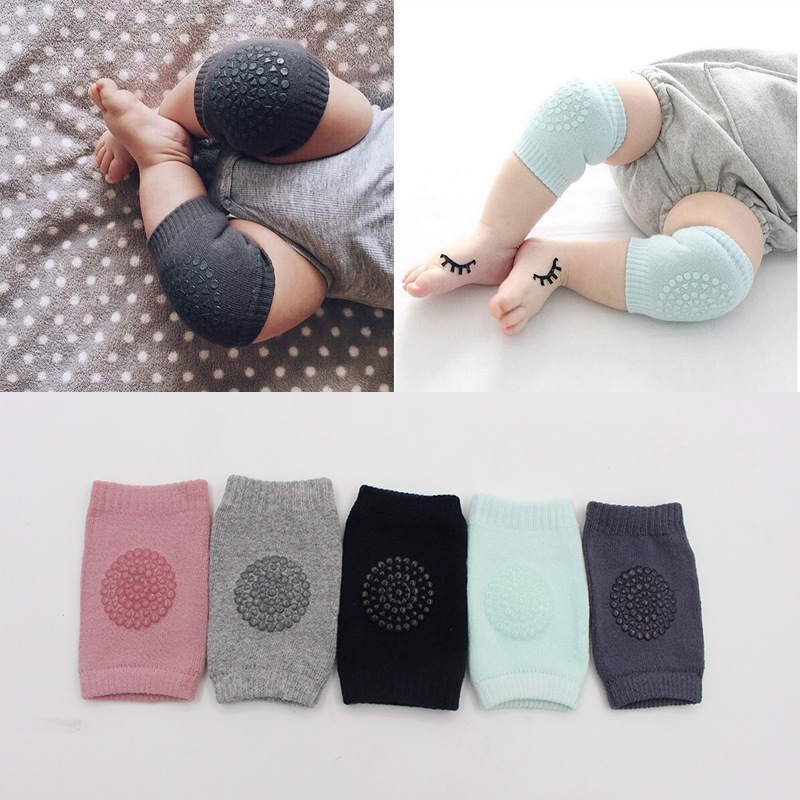 1 Pair Cotton Baby Knee Pads Kids Anti Slip Crawl Safety Necessary Environmental Dot Rubber Knee Protector Infant Leg Warmers