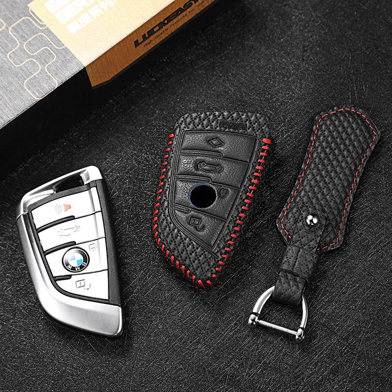 Luckeasy Leather Car Key Cover For Bmw 5 Series 2018 7 Series 2017