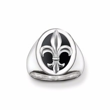 Thomas Style Silver Color Fleur-de-lis Ring,European Jewelry Black Lily Ring for Cool Men,Christmas Gift Men's Best Choice