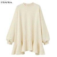 PRAPRA New Blouse Shirt Women Large Size Autumn Winter Loose Dolman Long Sleeve Crew Neck Ruffle