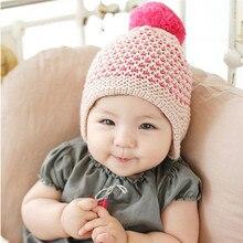 Зима Теплая Ребенок Малыш Hairball Cap Мальчик в Девочке Шапочка Уха capHat Крючком