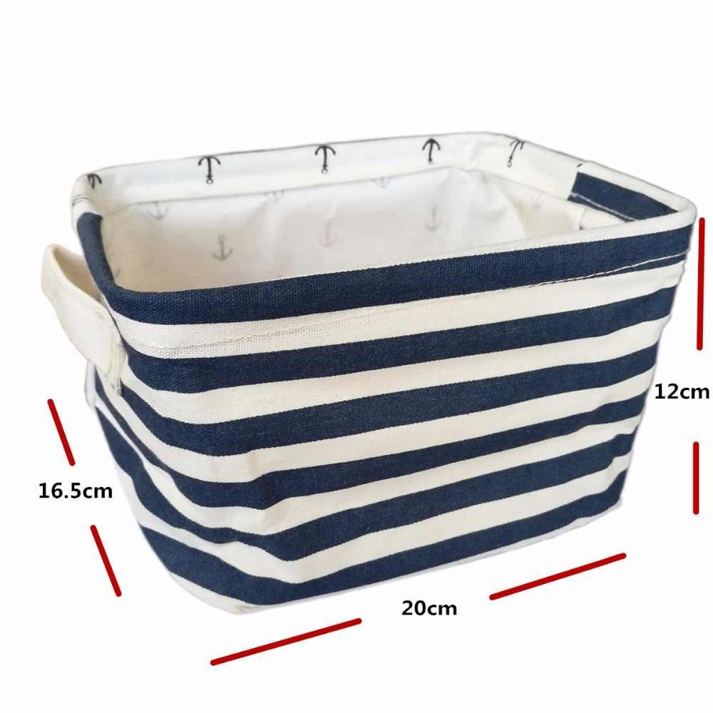 New Folding Algodão e linho cesta de desktop caixa de armazenamento organizador de maquiagem Cosméticos caso caixa de ferramentas roupa organizador para sutiã