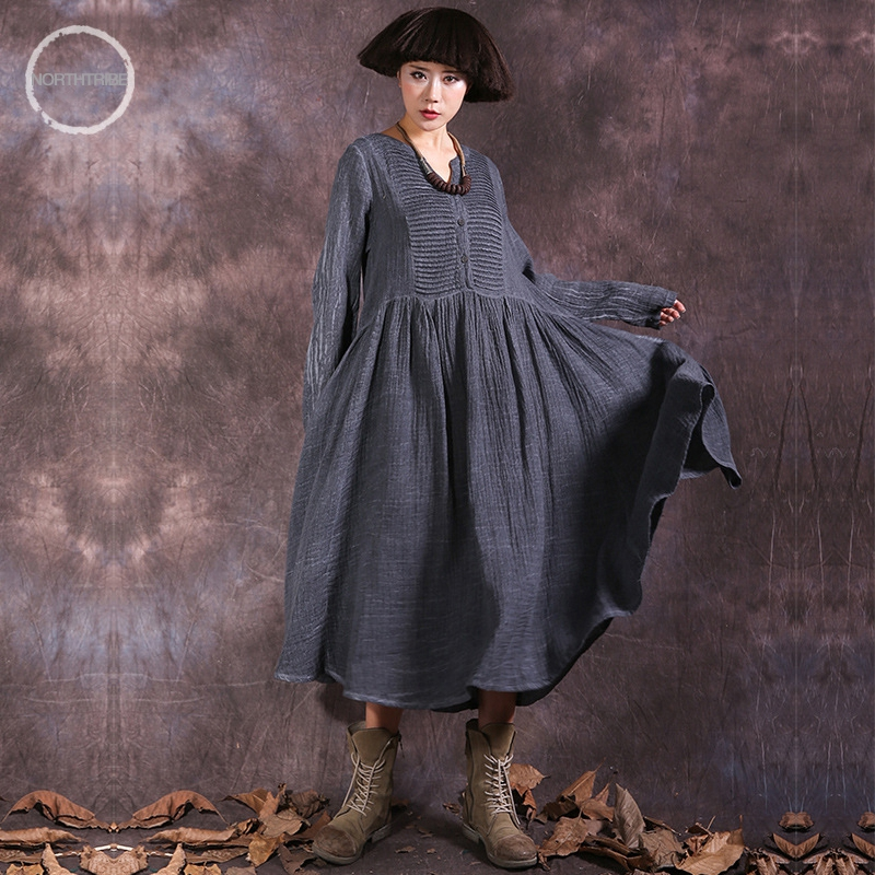 2018 New Original cotton and linen women's wholesale department deducted V-neck frock color long-sleeved dress female autumn